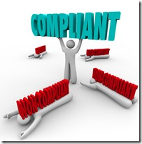 One person lifts the word Compliant and others are crushed by non-compliance, as the winner follows